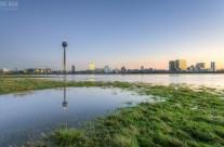 Düsseldorf Panorama Rheinturm und Medienhafen