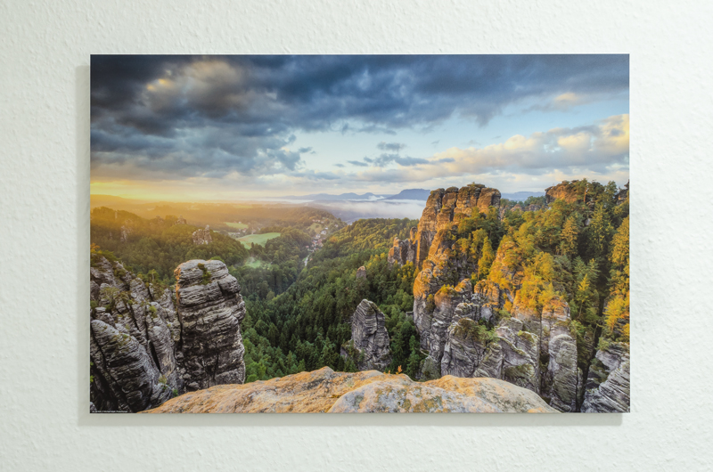 Sonnenaufgang im Elbsandsteingebirge, Alu-Dibond, 60 x 40 cm