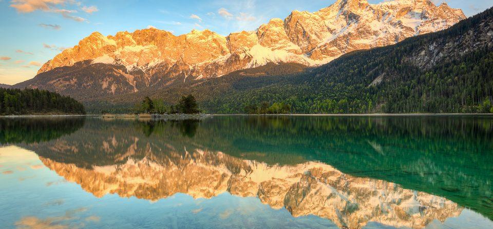 Alpenglühen am Eibsee
