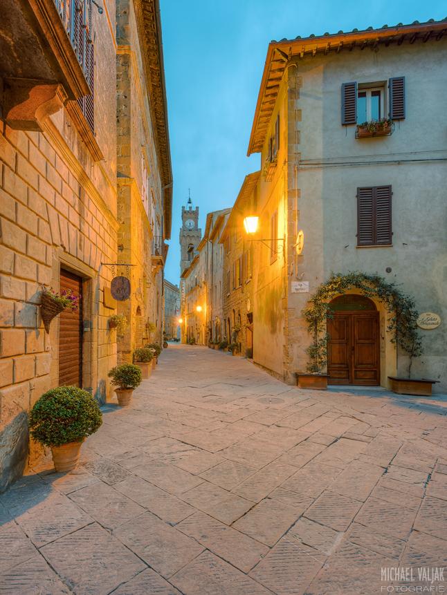 Morgens in Pienza in der Toskana