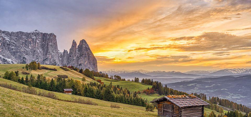 Schlern und Santnerspitze in Südtirol