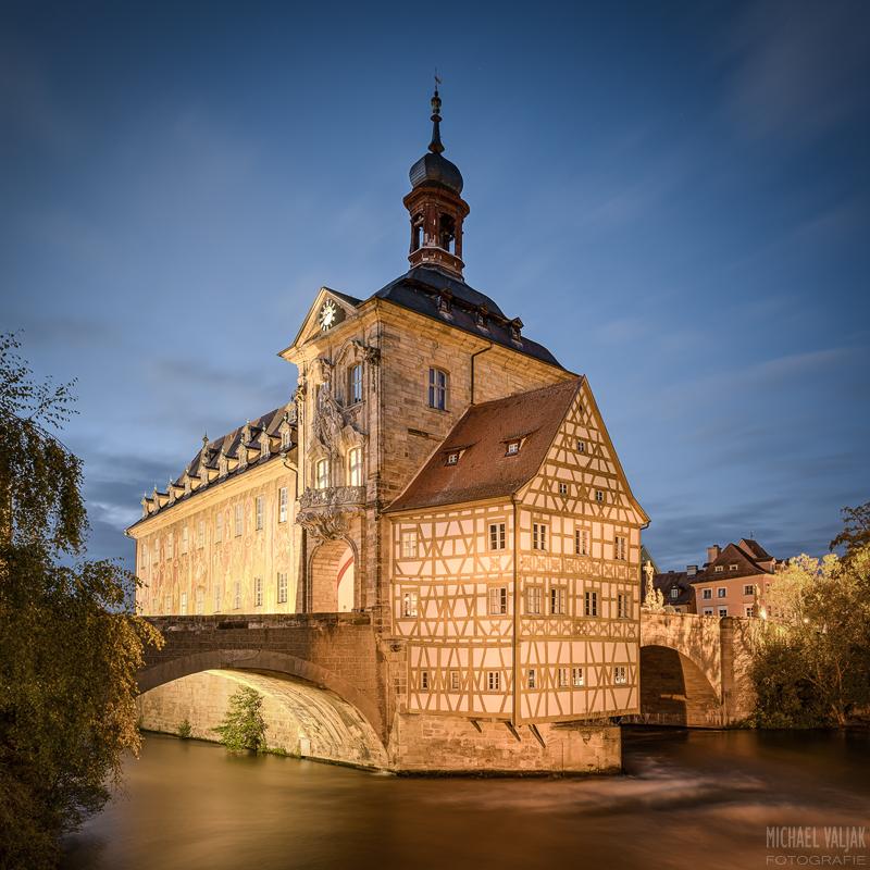Altes Rathaus in Bamberg quadratische Version mit Vignette