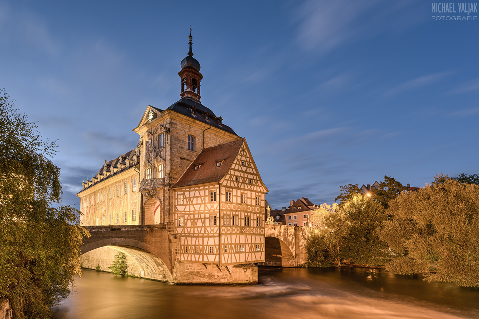 Altes Rathaus in Bamberg am Abend